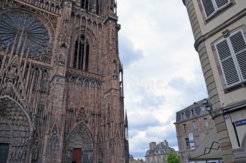 Strasbourg cathedral and city buildings details, Strasbourg France royalty free stock photography