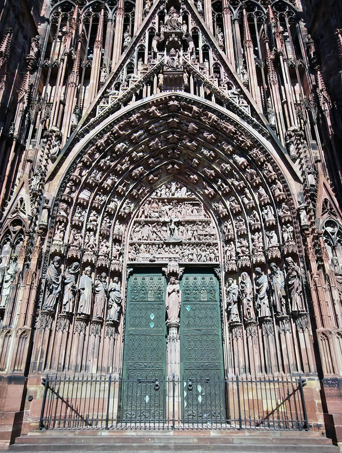 Strasbourg cathedral entrance. In France stock photography