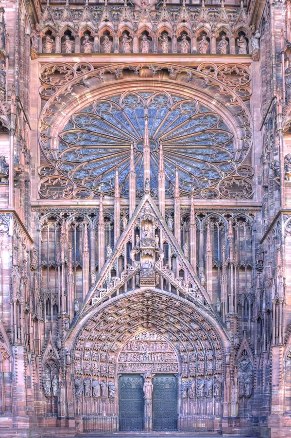 Strasbourg Cathedral. Strasborg Cathedral is one of the most beautiful gothic cathedrals in Europe. Strasbourg is the capital and largest city of the Grand Est stock image