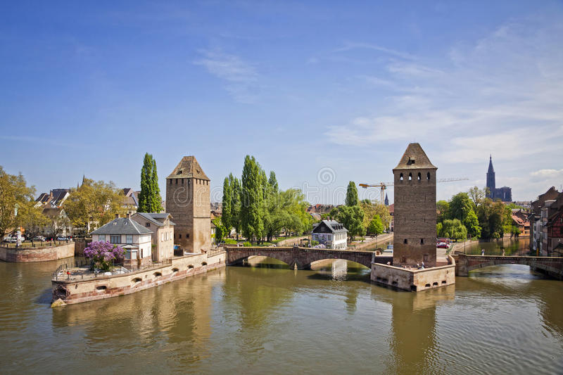 Strasbourg city, Alsace province, France. View from Barrage Vauban to medieval bridge Ponts Couverts stock photo