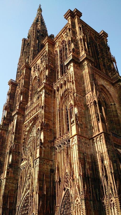 Strasbourg domkyrka i solljus royaltyfri fotografi