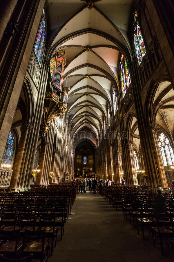 STRASBOURG, FRANCE. ​STRASBOURG, FRANCE - NOVEMBER 5: Interior views of Cathedral of Our Lady in the old town part of Strasbourg on November 5, 2015 royalty free stock image