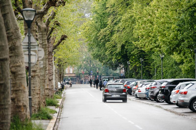 Almost empty street during Yellow Vests protest. Strasbourg, France - Apr 28, 2019: Perspective view of almost empty street in Strasbourg during Yellow Vests stock photography