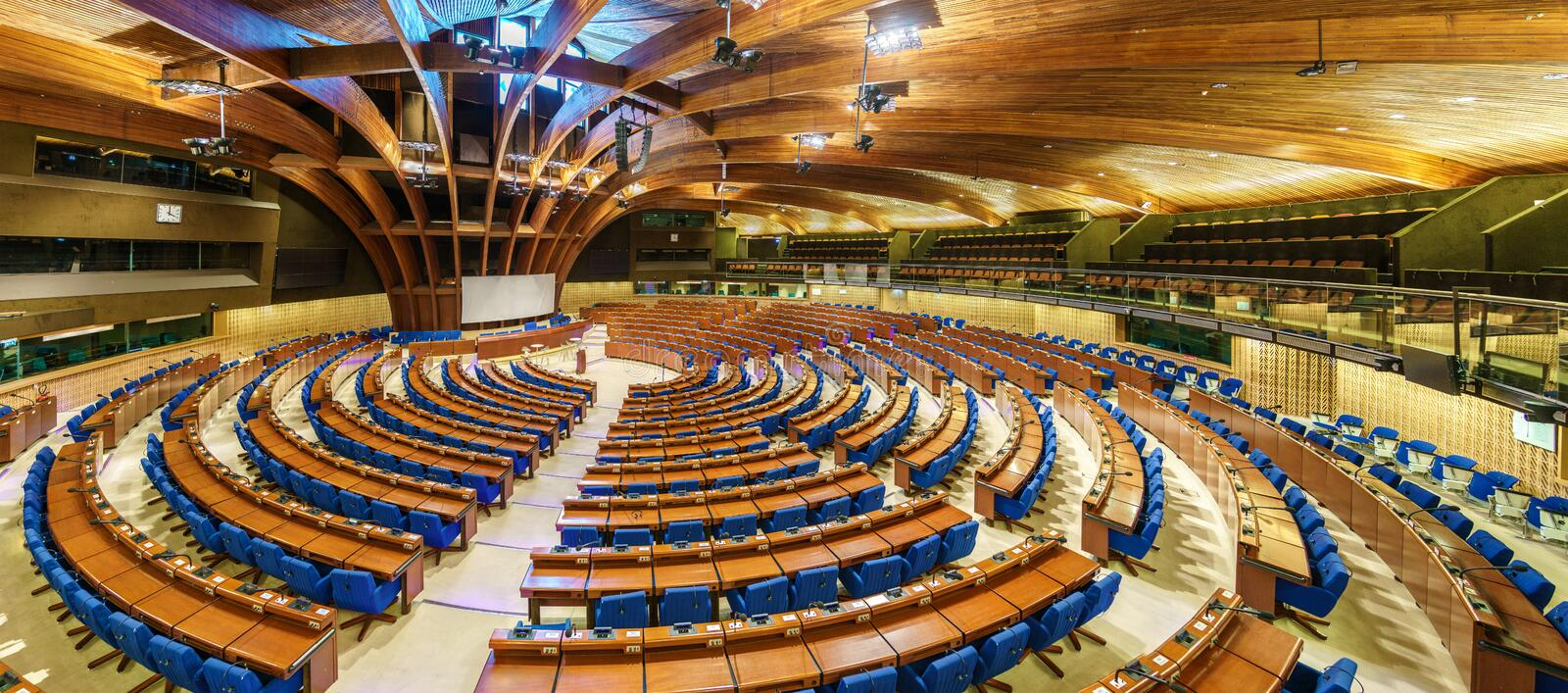 The Hemicycle of the Parliamentary Assembly of the Council of Europe, PACE. The CoE is an organisation whose aim is to stock photos
