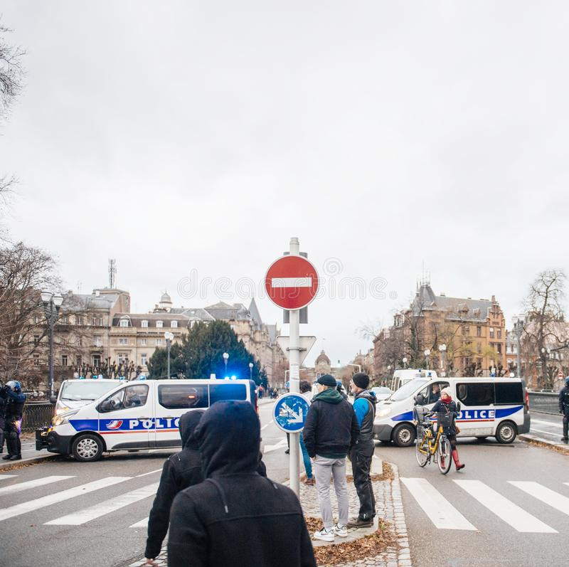 Surveillance of Strasbourg city center by police force stock photo