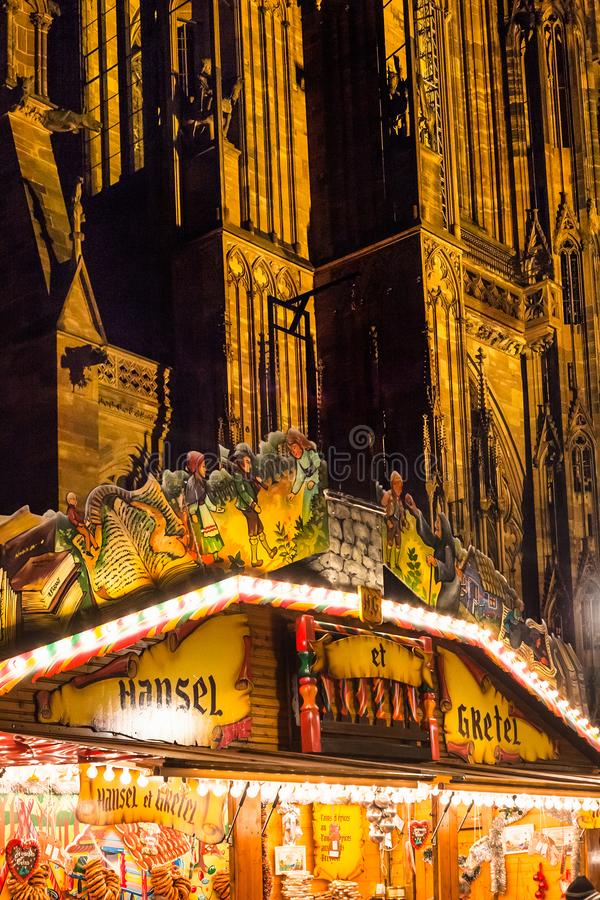 Christmas pavilion near Strasbourg Cathedral stock photography