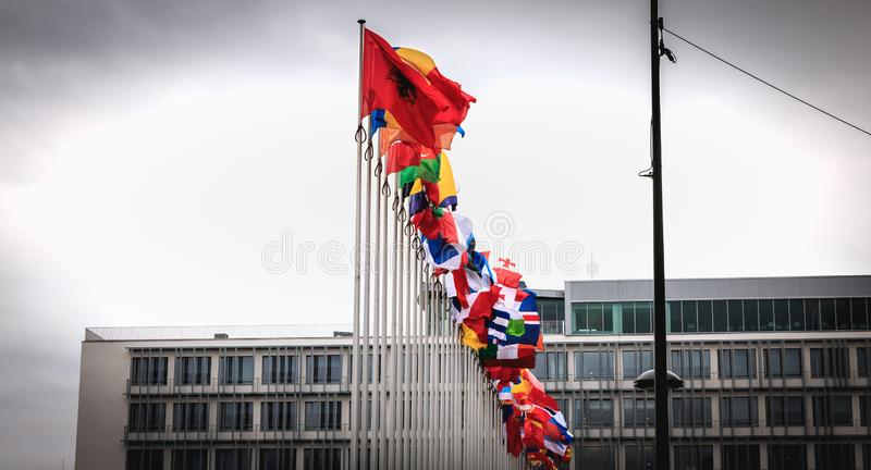Set of European flags in the wind in front of the Council of Europe royalty free stock photo