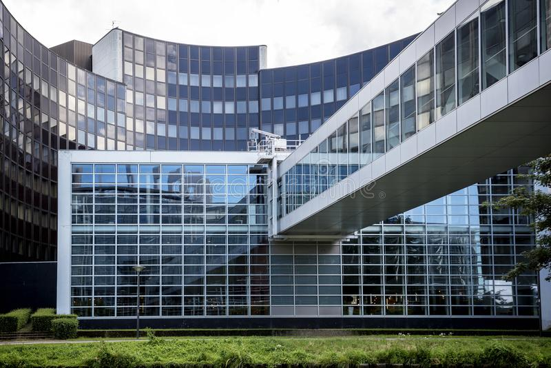 STRASBOURG, FRANCE: Exterior of European Parliament Louise Weiss building, 1999. In Wacken district of Strasbourg. It is one of biggest and most visible stock photos