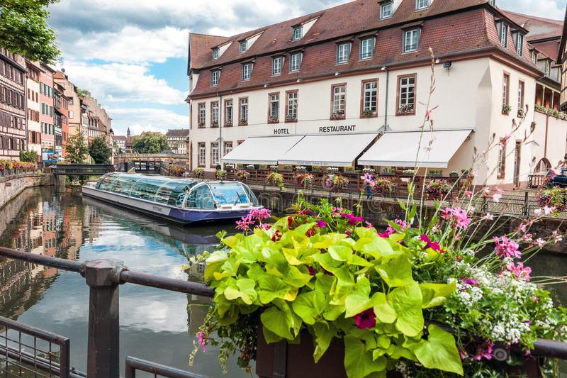 View at La Petite France historic quarter of the city of Strasbourg. Strasbourg, France - July 03, 2017: Summer view at La Petite France, a historic quarter of royalty free stock image