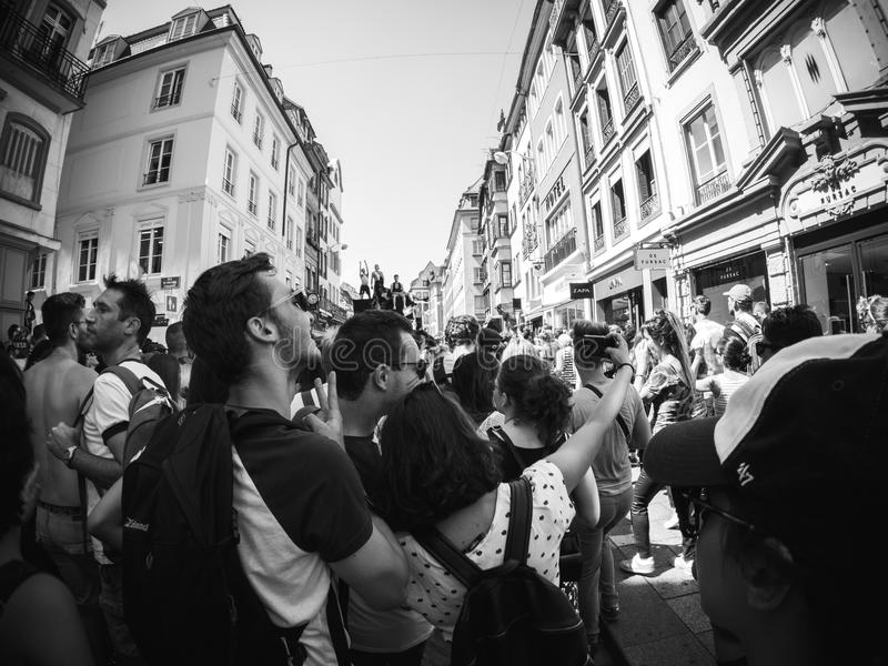 Gay Pride in France black and white royalty free stock photos
