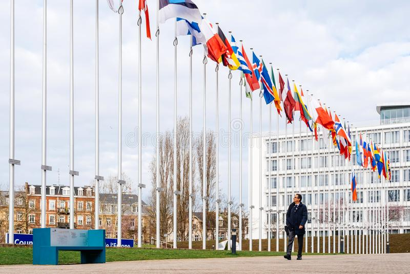 Flag of Russia flying half-mast at Council of Europe in Strasbou royalty free stock images