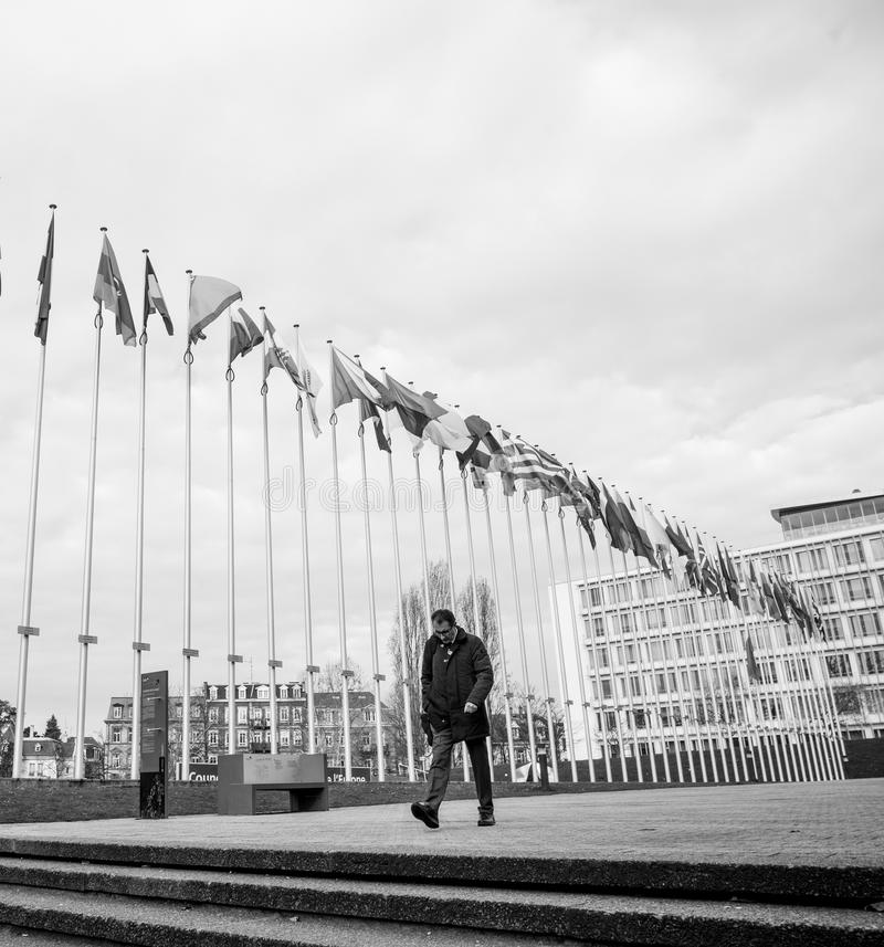 Flag of Russia flying half-mast at Council of Europe in Strasbou royalty free stock photo