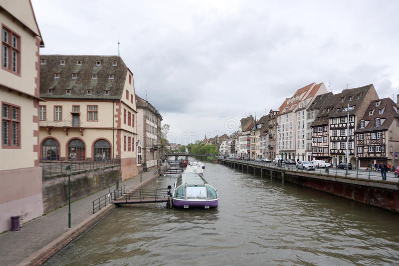Strasbourg, France - 3 May,2016 :Beautiful old town of Strasbourg at the tourist boat pier on 3 May 2016 in Strasbourg, France royalty free stock photo