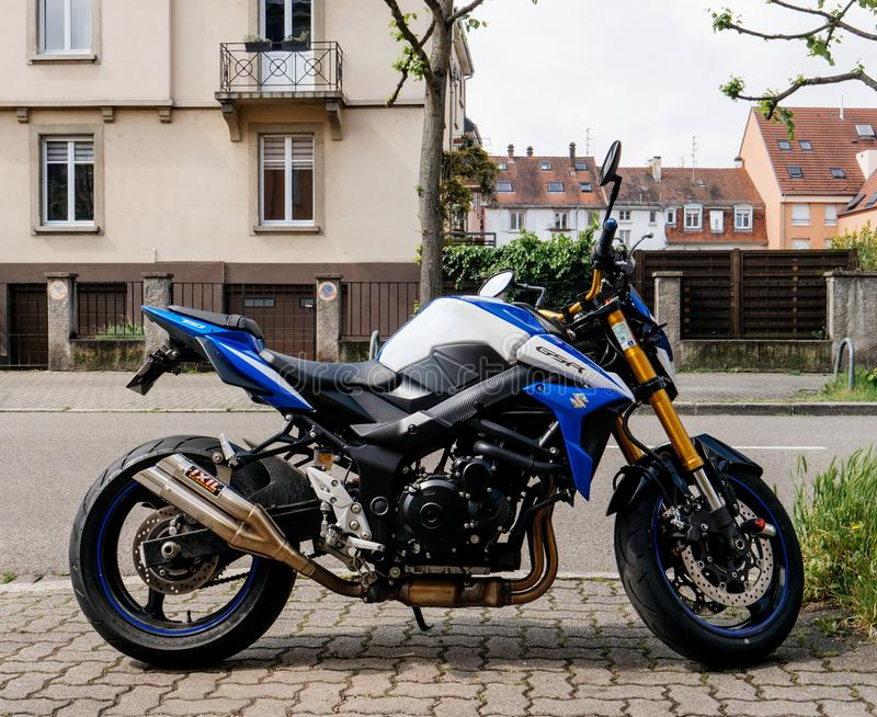 SUZUKI GSR motorcycle bike. STRASBOURG, FRANCE - MAY 5, 2018: New fast SUZUKI GSR motorcycle bike parked on street in France stock photography