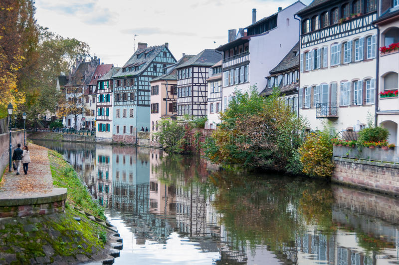 STRASBOURG, FRANCE - OCT 25 2013 : Canal in Petite France area, royalty free stock images