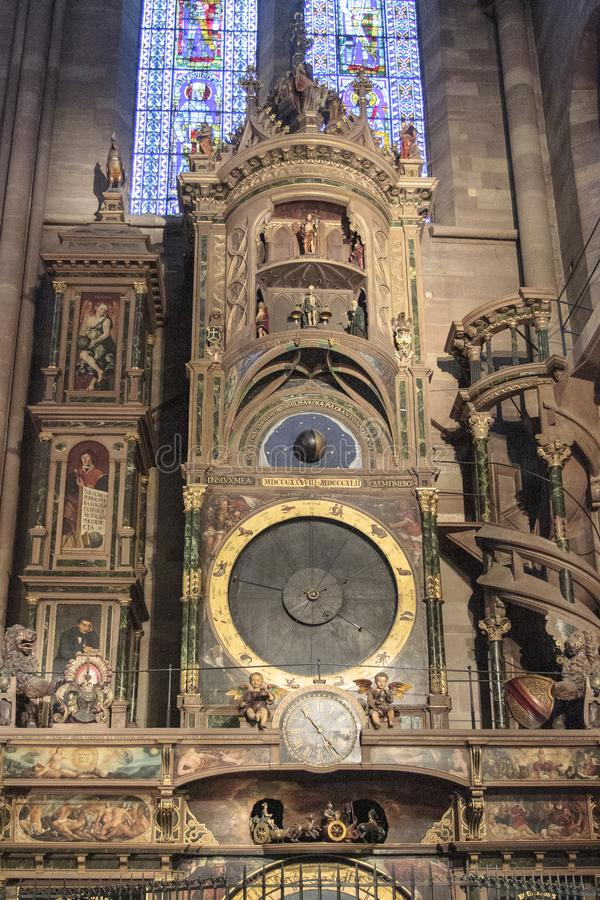 Old clock inside the cathedral of Strasbourg in Alsace France. Strasbourg France 10-15-2018. Old clock inside the cathedral of Strasbourg in Alsace France royalty free stock photo