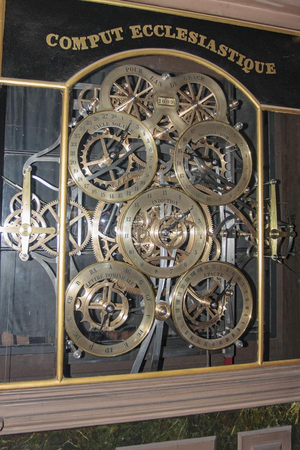 Old clock inside the cathedral of Strasbourg in Alsace France. Strasbourg France 10-15-2018. Old clock inside the cathedral of Strasbourg in Alsace France stock photos