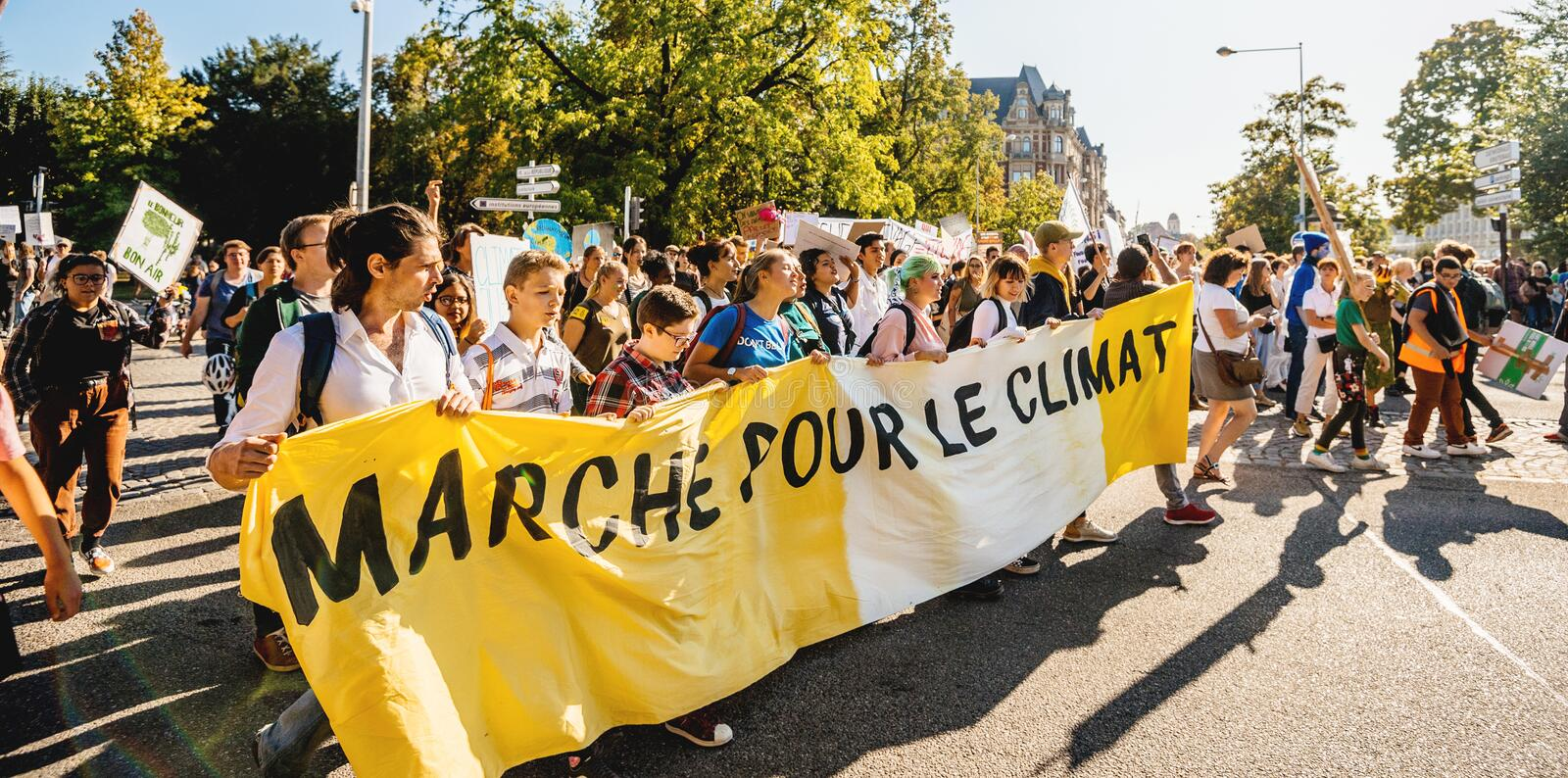 People rally for action on climate change stock photos