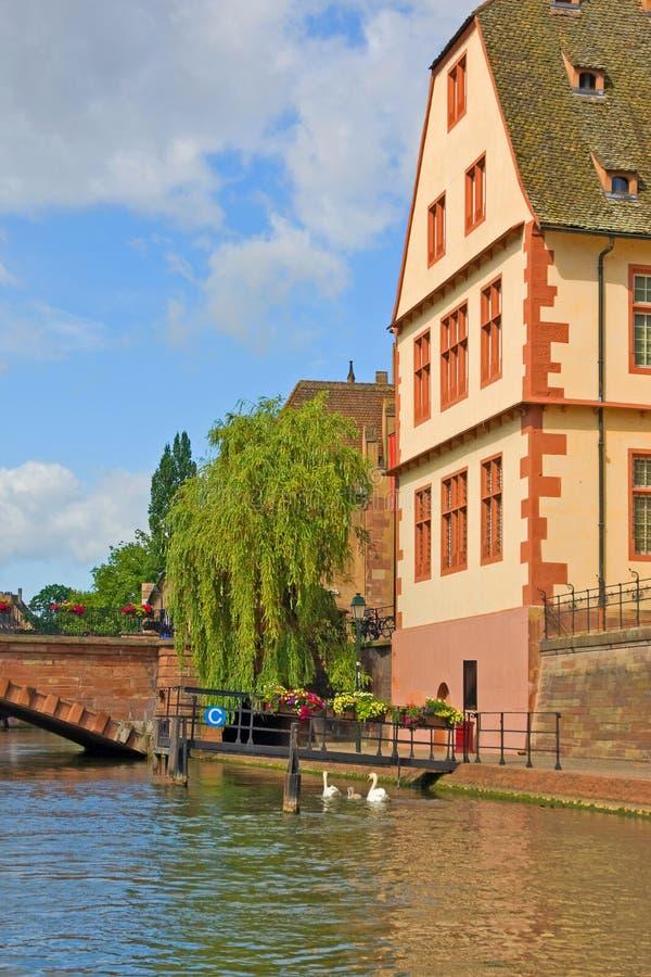 Strasbourg Frankrike med färgrik arkitektur arkivbild
