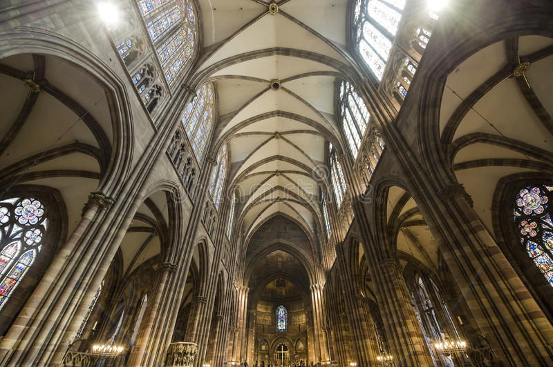 Strasbourg - The Gothic Cathedral, Interior Royalty Free Stock Images