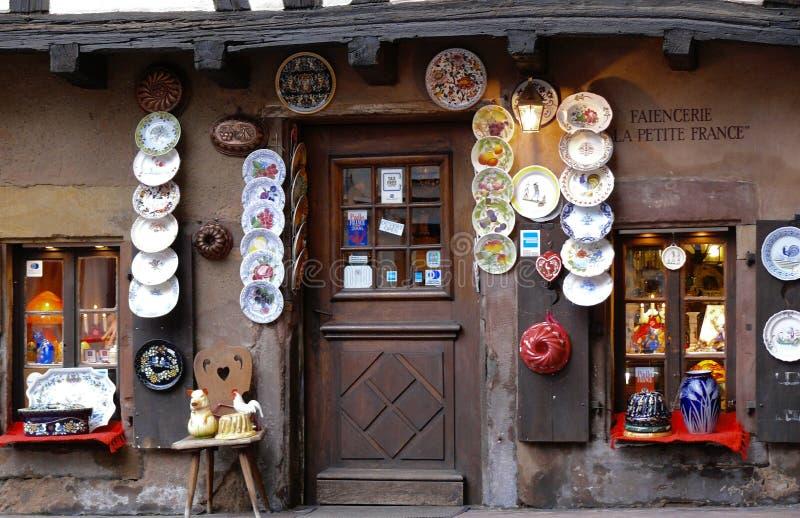 Facade of a ceramic shop. stock images