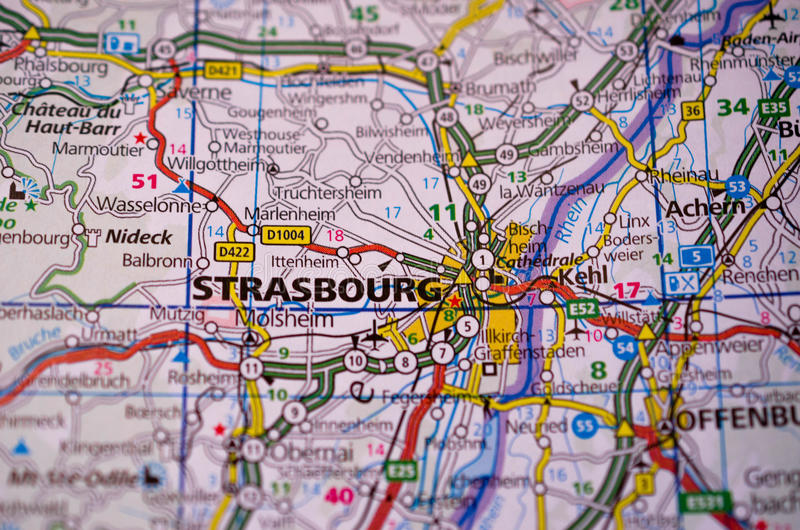Strasbourg on map stock image Image of city transport 97136277