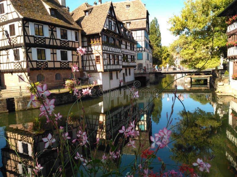 Strasbourg Petite France. Maison Fleurie Alsace Canal Pont Tanneur Fleur stock images