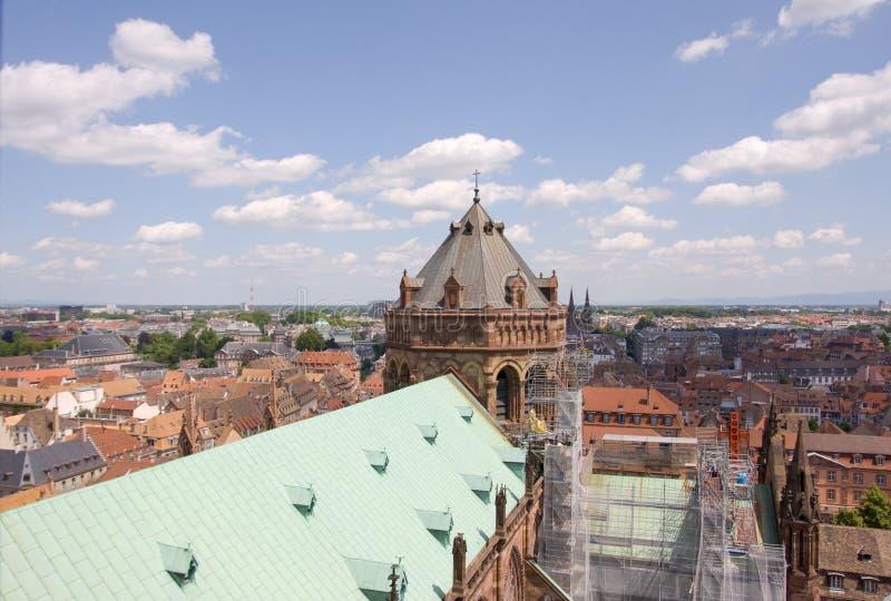 Strasbourg stad - flyg- sikt royaltyfri fotografi