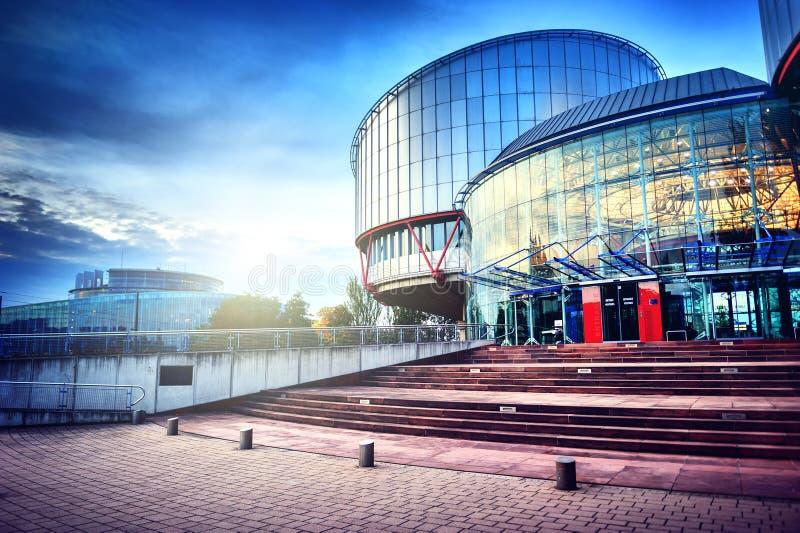 STRASBURG, FRANCJA - europejskiego trybunału praw człowieka budynek fotografia stock