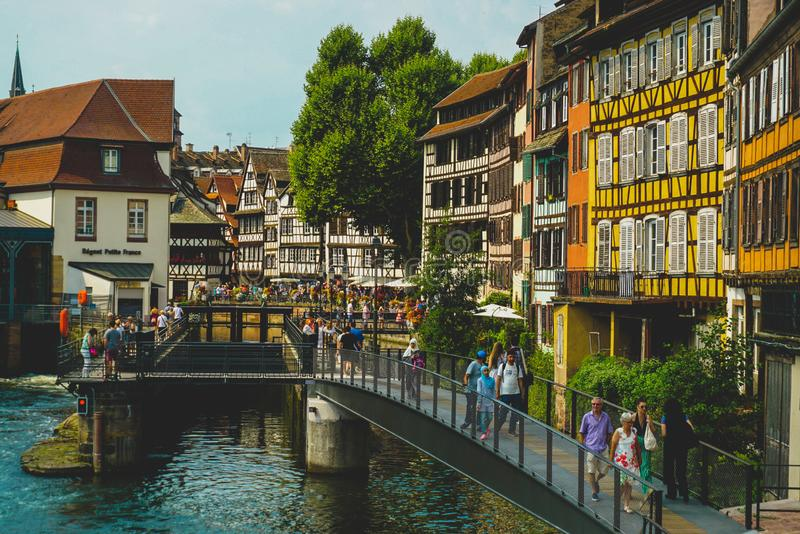 Strasburg kanały i stary miasteczko zdjęcie royalty free