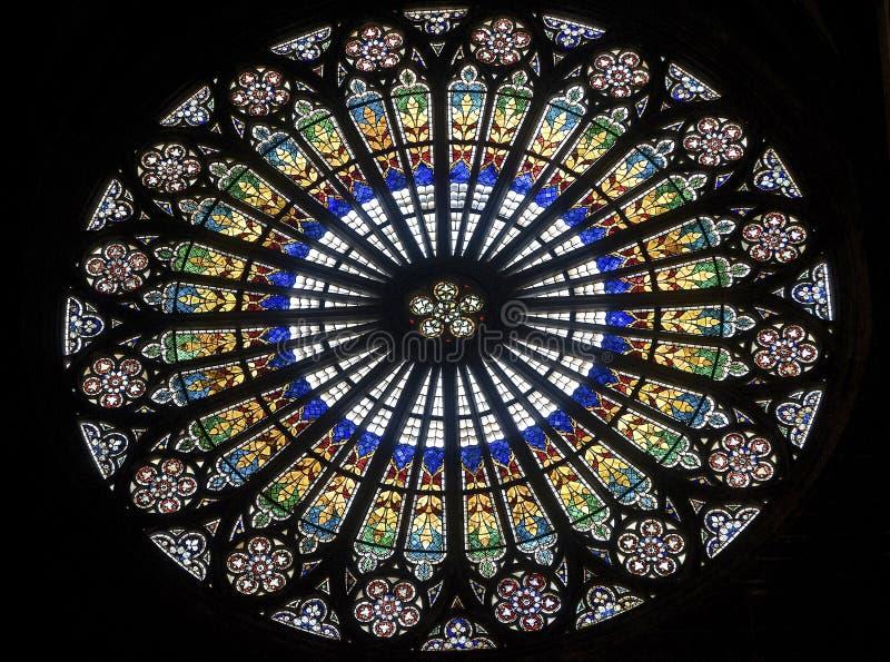 Strasburg - okno katedra, różany okno zdjęcia stock
