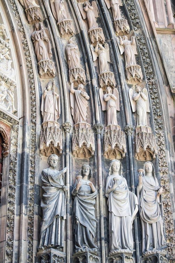 Strasburg - Rzeźba Katedra, Rzeźby Zdjęcia Stock