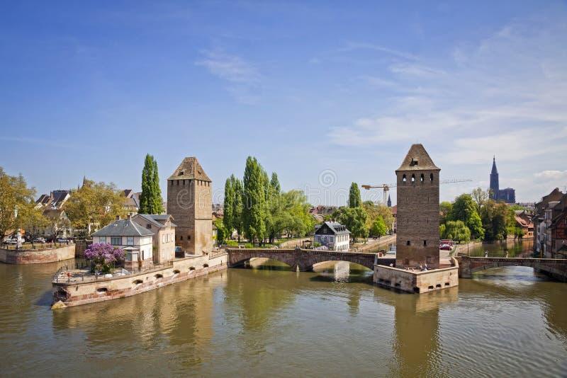 Strasburskiego miasta, Alsace prowincja, Francja Widok od zapory Vaub zdjęcie stock