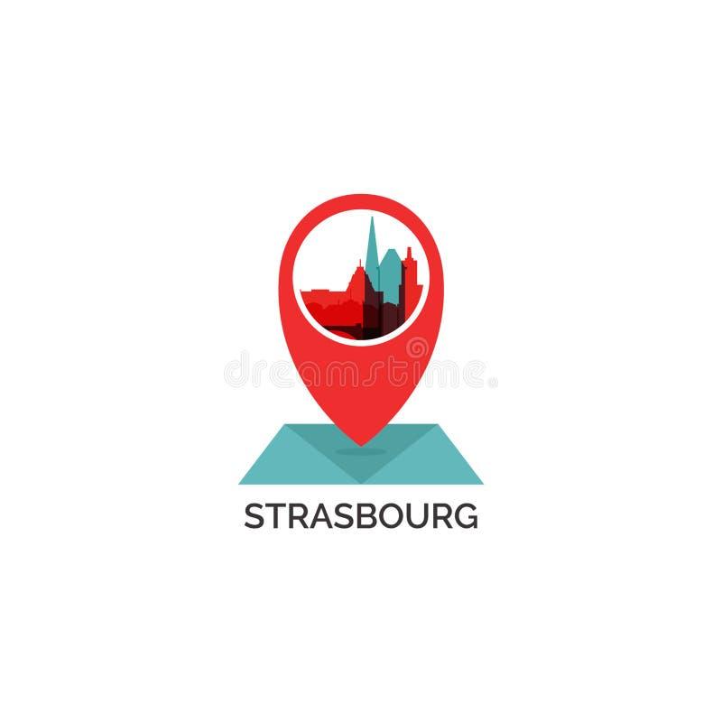 Strasburskiej miasto linii horyzontu sylwetki loga wektorowa ilustracja zdjęcia stock