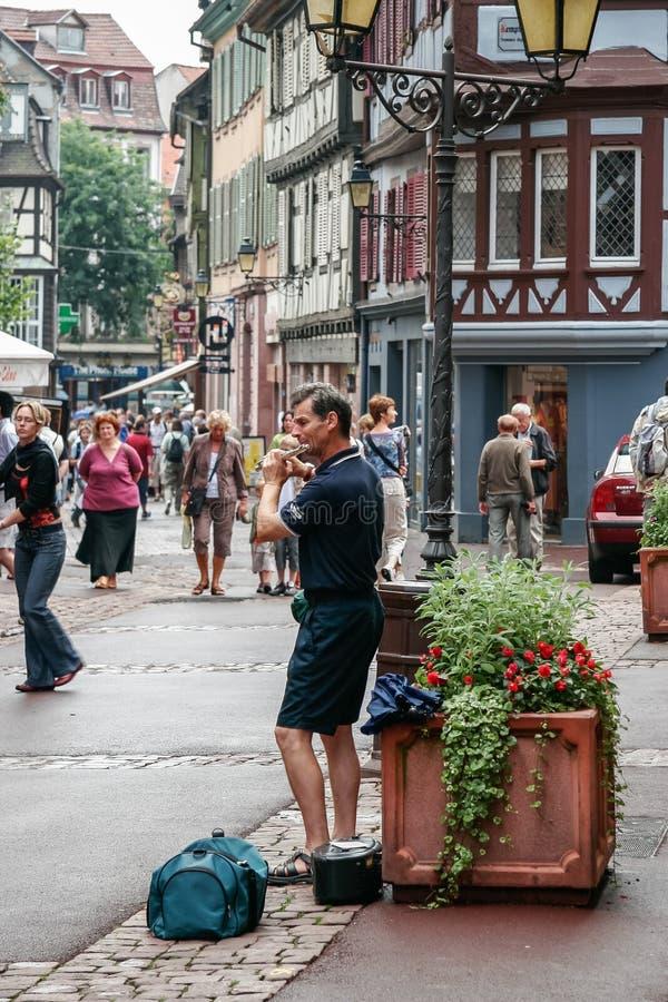 STRASSBURG, FRANCE/EUROPE - 19. JULI: Busking in Straßburg auf J stockbilder