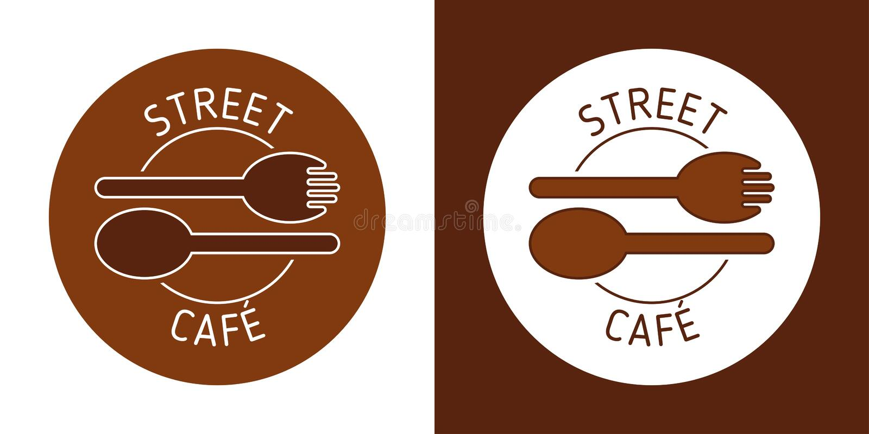 STRASSEN-CAFÉ-VEKTOR-LOGO BROUN-LINIE VEKTOR LÖFFEL-GABEL-BILD Abstrakte Ikonen lizenzfreie abbildung