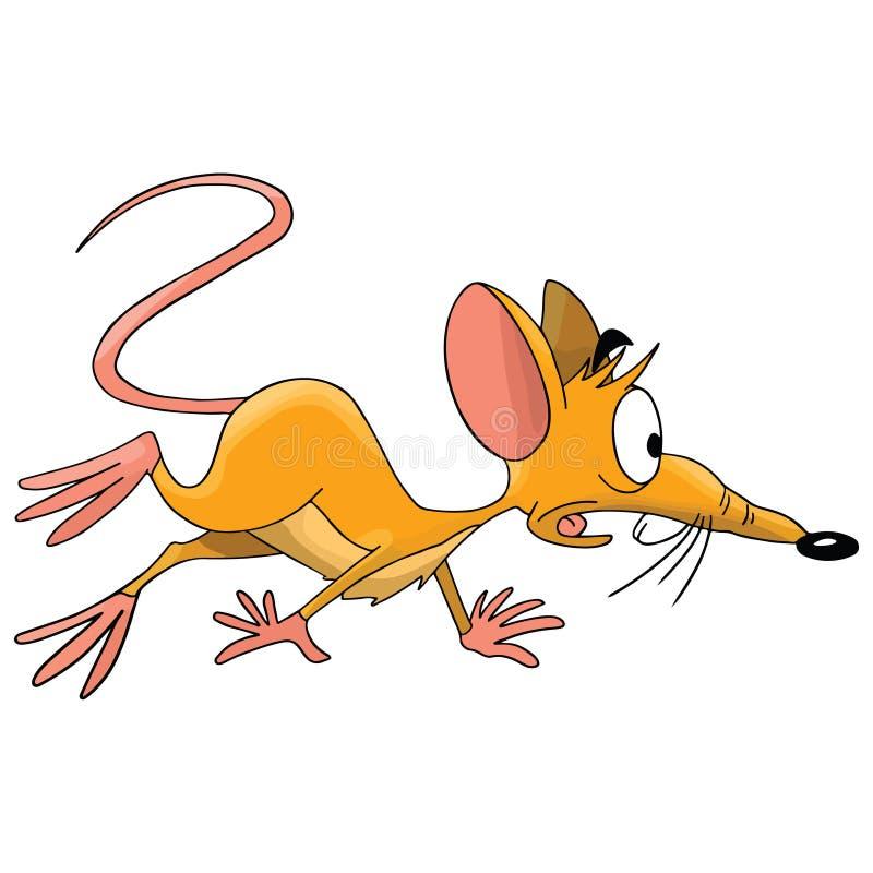 Strasząca kreskówki mysz przygotowywająca uciekać wektor royalty ilustracja