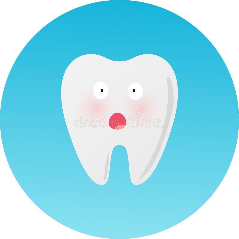 Strasząca emoticon mienia głowa Śliczny smutny zagłębienie kreskówki zębu charakter, dziecko dentystyka, stomatologicznej opieki  ilustracji