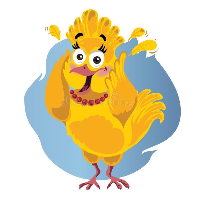 Strasząca Indycza Śmieszna Wektorowa kreskówka - ilustracja dziękczynienie ptak w panice royalty ilustracja