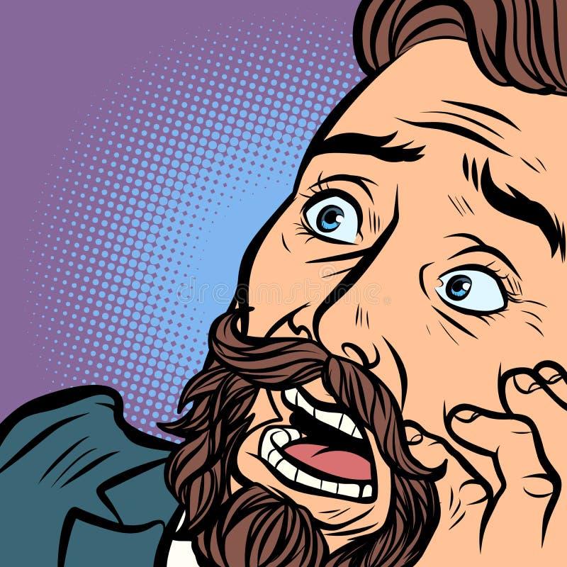 Straszący brodaty modnisia mężczyzna, strach i horror, blisko twarz ilustracja wektor