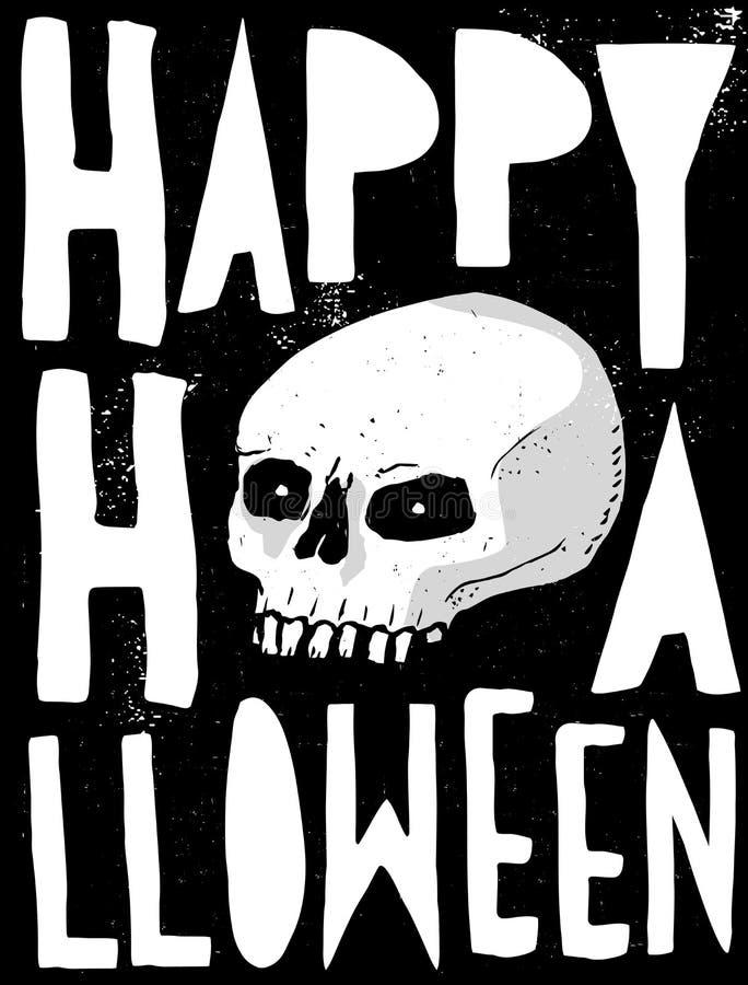 Straszna Abstrakcjonistyczna Biała Ludzka czaszka dla karty, plakata i dekoracji Halloween, royalty ilustracja