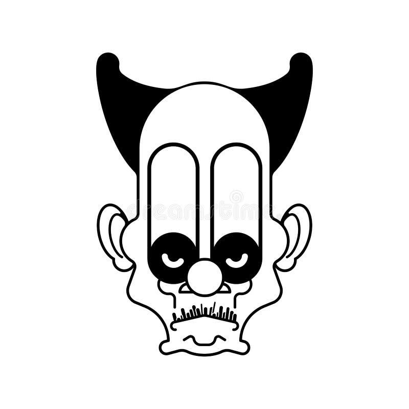 Straszna błazenu zła głowa Okropni oczy również zwrócić corel ilustracji wektora ilustracji