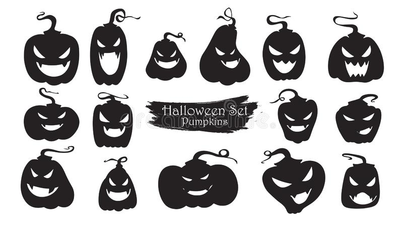 Straszna bani sylwetki kolekcja Halloweenowy wektorowy isolat ilustracja wektor