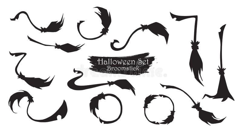 Straszna broomstick sylwetki kolekcja Halloweenowy wektoru isol ilustracja wektor