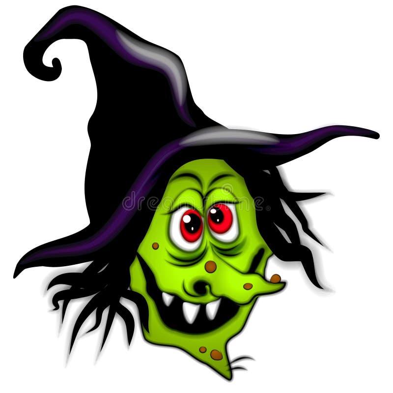 straszna czarownica kreskówek Halloween. ilustracji