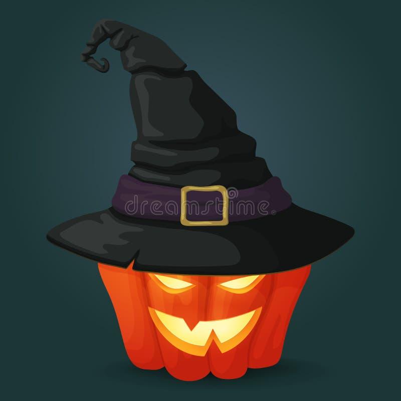 Straszna dojrzała pomarańczowa bania iluminująca od inside z czarnym czarownica kapeluszem ilustracja wektor