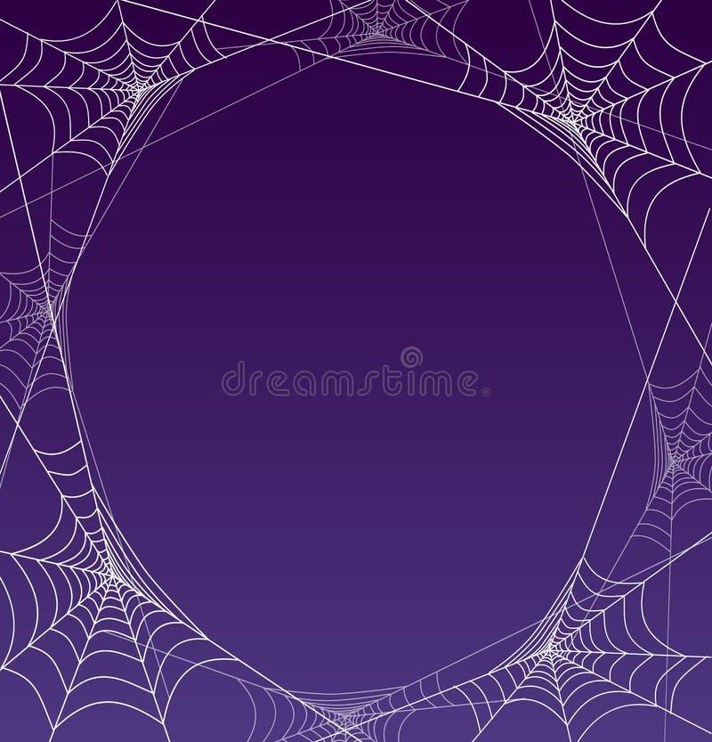 Straszna Halloween pająka sieci rama z purpurowym tłem royalty ilustracja