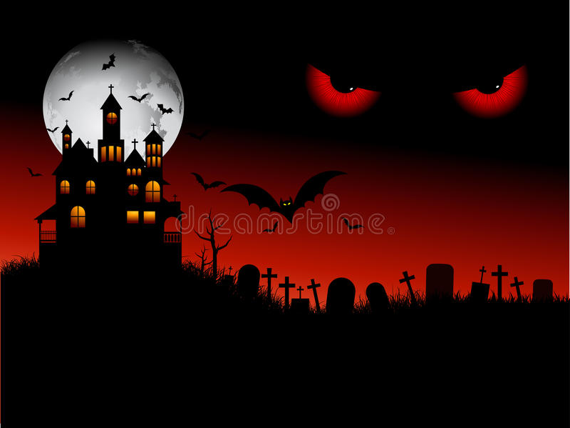 straszna Halloween scena ilustracji