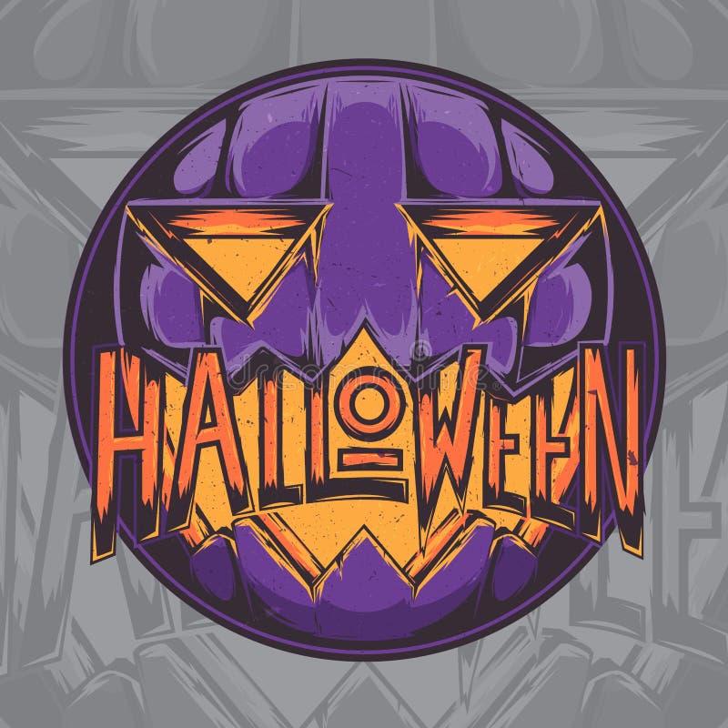 Straszna Halloweenowa Dyniowa odznaka, etykietka, emblemat, majcheru projekt także używać jak sztandar lub plakat może retro styl ilustracji