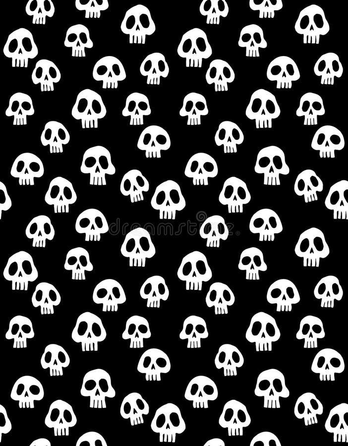 Straszna Halloweenowa ilustracja Biały czaszka wektoru wzór royalty ilustracja